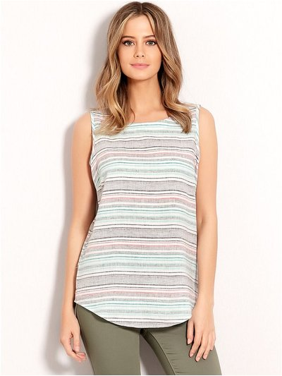 Petite stripe linen shell top