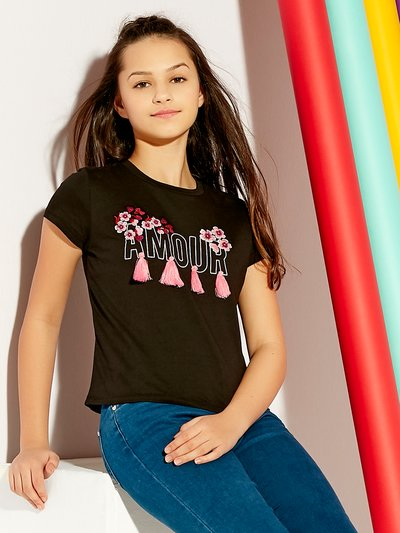 Teens' amour tassel slogan t-shirt