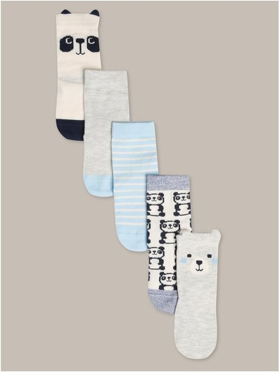 Panda socks five pack (newborn-24mths)