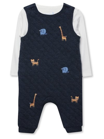 Quilted dunagrees and top set (Newborn-18mths)