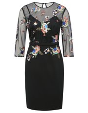 Little Mistress sequin embroidered midi dress