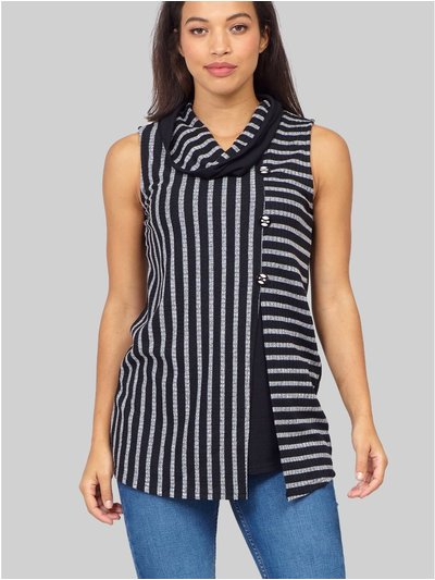 Izabel striped split front tunic top