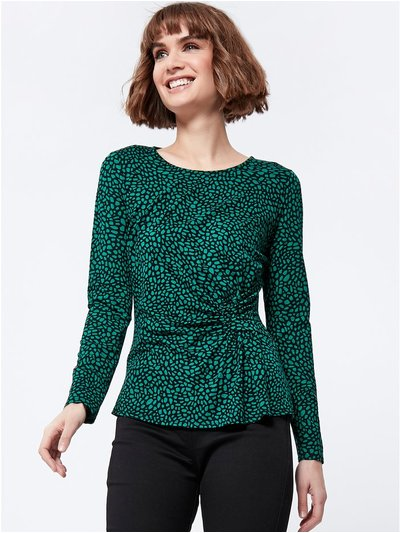 Long sleeve patterned ruched top