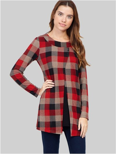 Izabel checked split front top