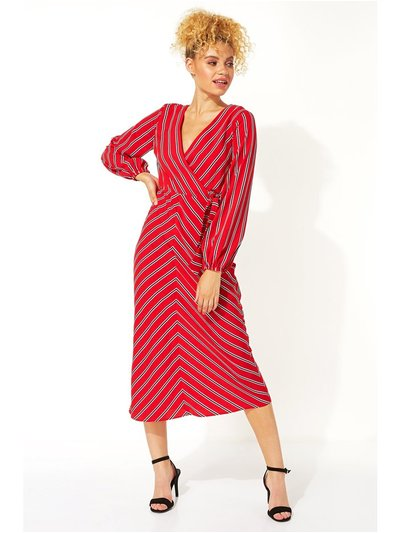 Roman Originals wrap stripe midi dress