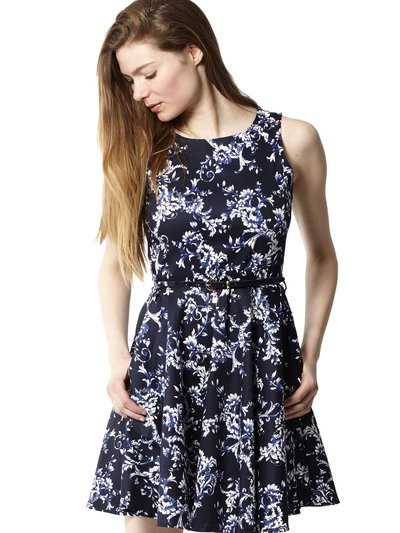 Izabel printed skater dress with belt