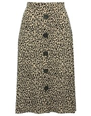 Leopard print button front midi skirt
