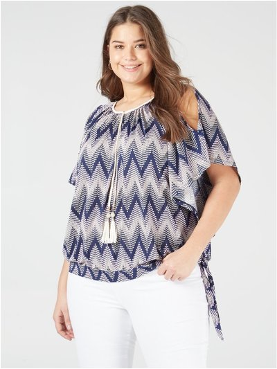 Blue Vanilla Curve cold shoulder tassle top