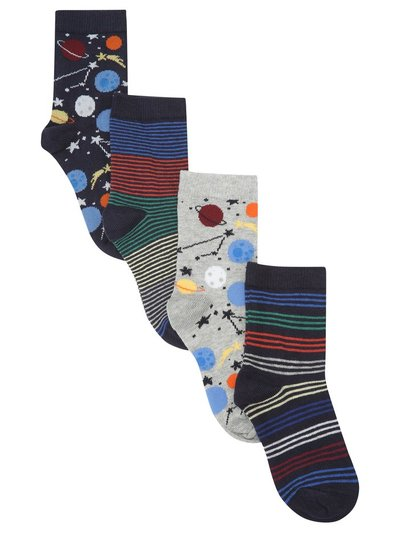 Space print socks four pack