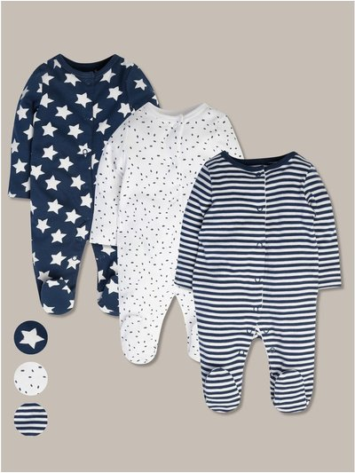 Printed sleepsuits three pack (tinybaby-24mths)