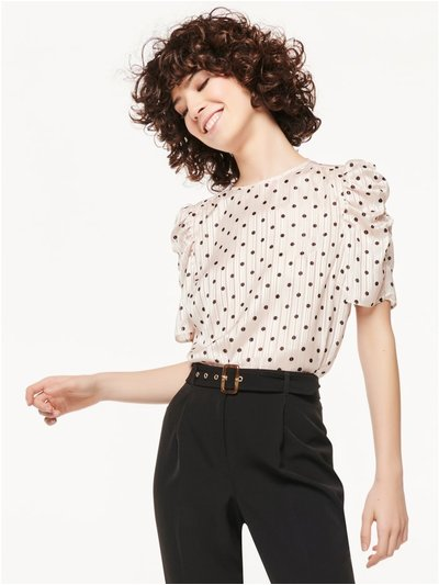 Spot satin ruched sleeve top