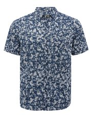 Blue flower print short sleeve shirt