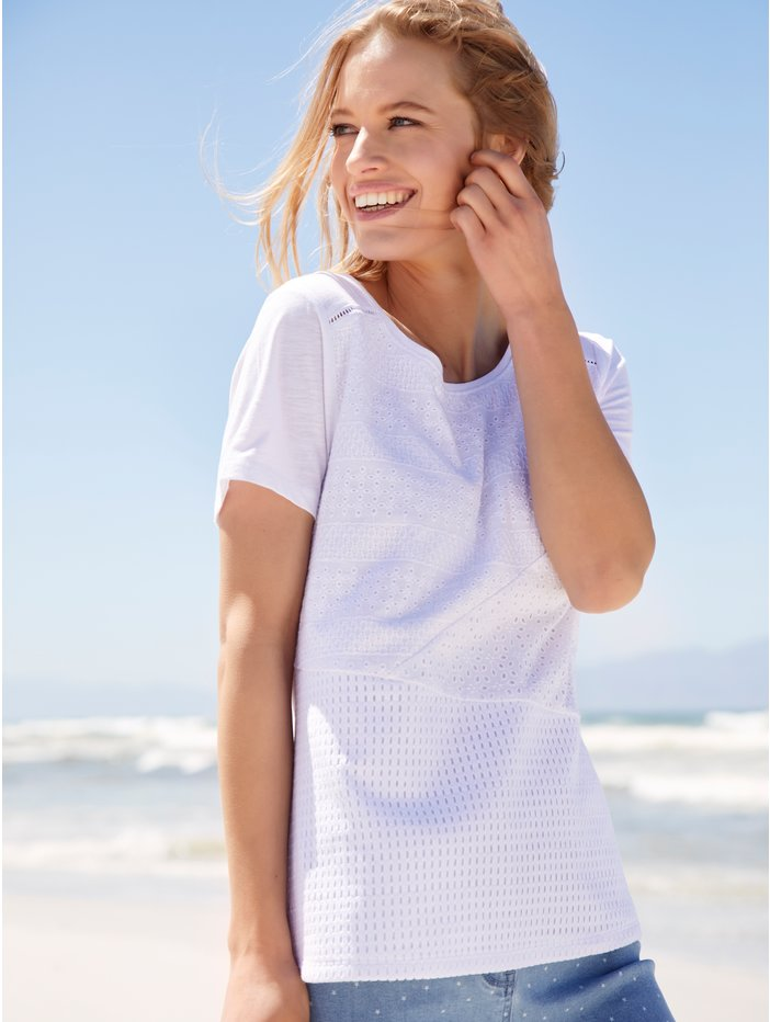 59c37f7944e7 Broderie Anglaise T-Shirt | Women's Tops | M&Co