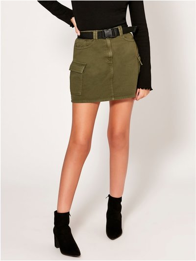 Teen utility skirt with belt