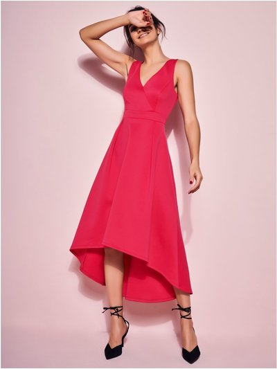 GLAMOUR cerise dip hem dress