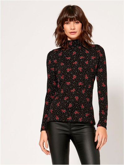 Floral spot roll neck top