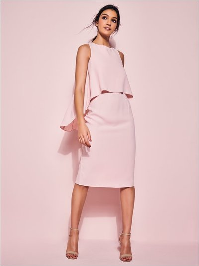 GLAMOUR blush overlay shift dress