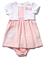 Bunny mock cardigan dress and knickers (Newborn - 18 mths)