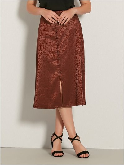 Animal jacquard satin midi skirt