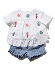 Embroidered top and shorts set