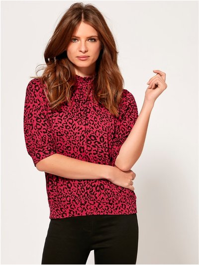 Petite leopard print high neck top