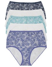 Lace print full briefs multipack