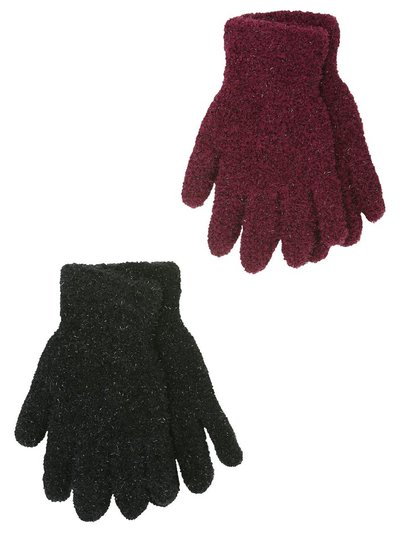 Teen shimmer fleece gloves two pack