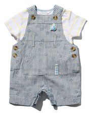 Whale dungarees and t-shirt set