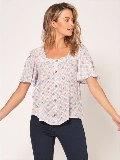 Petite square neck check top