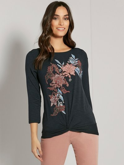Floral embroidered twist front top