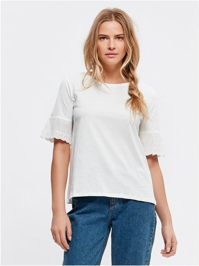 JDY broderie anglaise sleeve top