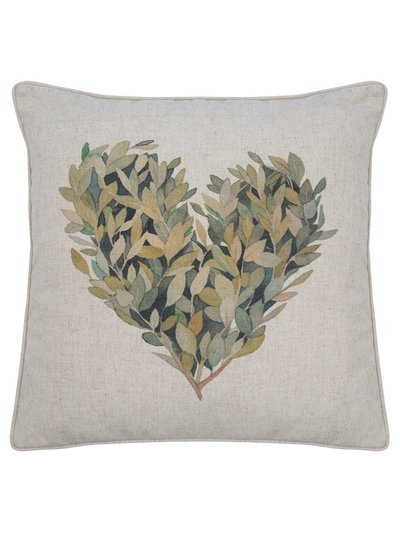 Laurel heart print cushion