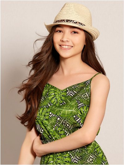 Teens' leopard trilby hat