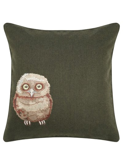 Owl embroidered cushion