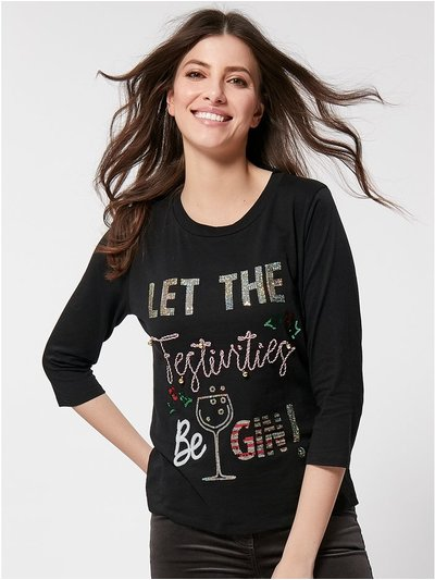 Christmas embellished slogan t-shirt