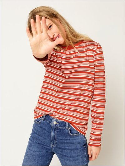 Stripe crew neck long sleeve top