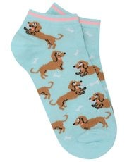 Sausage dog print trainer sock