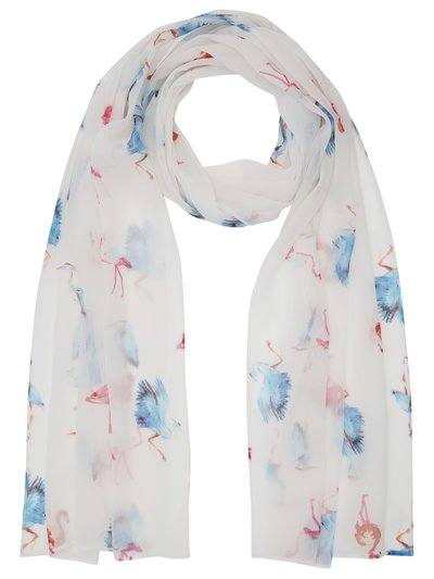 Flamingo and heron print scarf