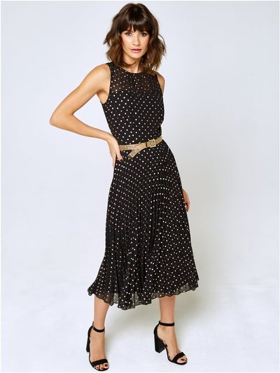 Metallic spot pleated dress