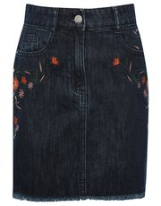 Teen floral embroidered denim skirt