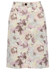 Floral print twill a line skirt