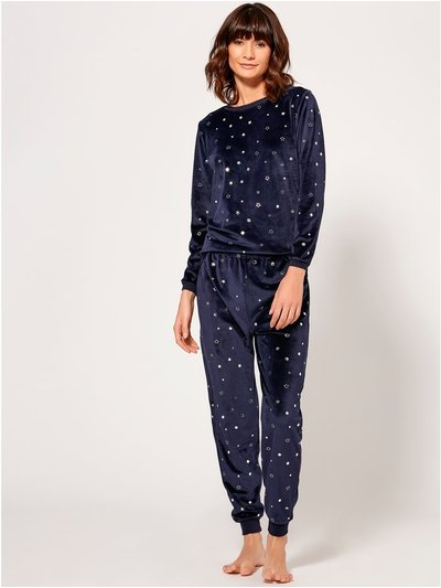 Velour foil star print pyjama set
