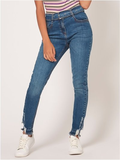 Teen belted ripped skinny jeans