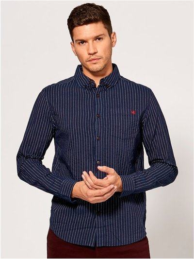 Fine stripe long sleeve shirt