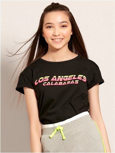 Teens' LA neon slogan t-shirt