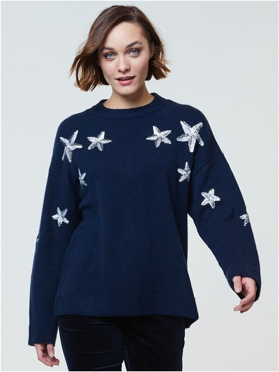Sequin star christmas jumper