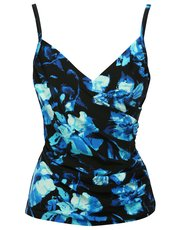 Floral rose print underwired wrap tankini top