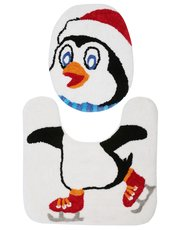 Penguin seat cover and pedestal mat set