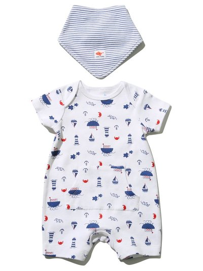 Sailor romper and bib set (Newborn-18mths)