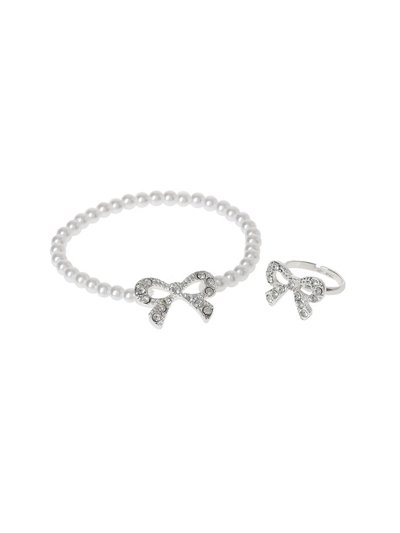 Crystal Bow Pearl Ring Bracelet Set